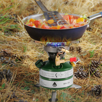 BRS Newest Portable Camping Gasoline Stove Picnic Oil Stove Cooker Burner with Empty Gas Tank Fuel Bottle and 8 Plate Windshield