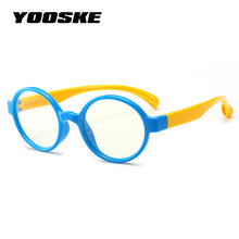 5ee2960f45 YOOSKE Kids Anti Blue Light Glasses Frame Children TR90 Silicone Optical  Glasses Boy Girl Flexible Round