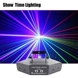 Muestra de tiempo RGB láser líneas de imagen escaneos de haz DMX DJ Barra de baile café Navidad Fiesta en casa Disco efecto iluminación sistema de iluminación