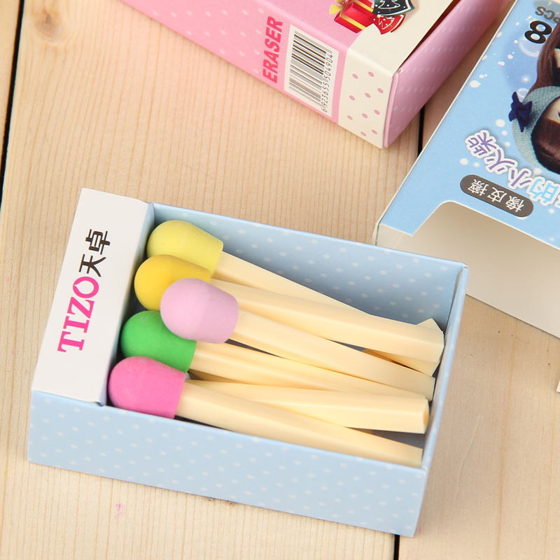 8 Pcs/lot (1 Box) Cute Matches Eraser Novelty Items Lovely Rubber Erasers For Kids Girls Gift School Supplies Kawaii Stationery