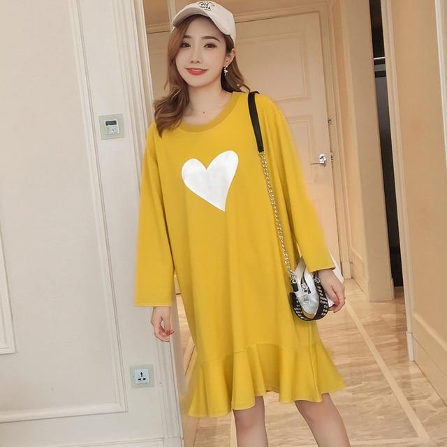 #4963 Spring Long Sleeve Yellow Mermaid Dress Women Cotton Plus Size Love Lotus Leaf Edge T shirt Dress Female Korean Fashion