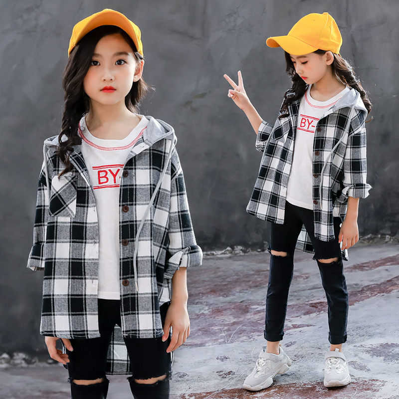 Girl Shirt Long Sleeve 2018 New Pattern Fashionable Korean Will Child Even Hat Long Fund Jacket Children Lattice Shirt Tide