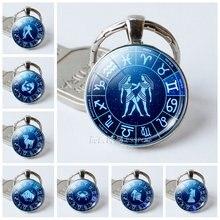 Брелоки для ключей с кулоном из стекла 12 созвездий Водолей