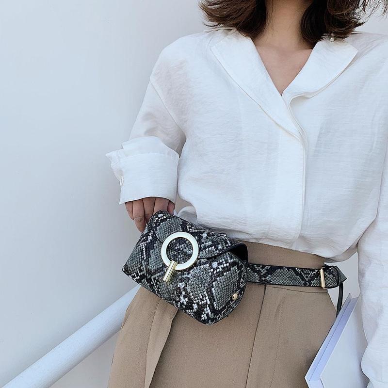 Women's Snake Skin Print Waist Bag Fashion Leather Serpentine Fanny Pack For Women Female Chain Envelope Shoulder Bag Belt New