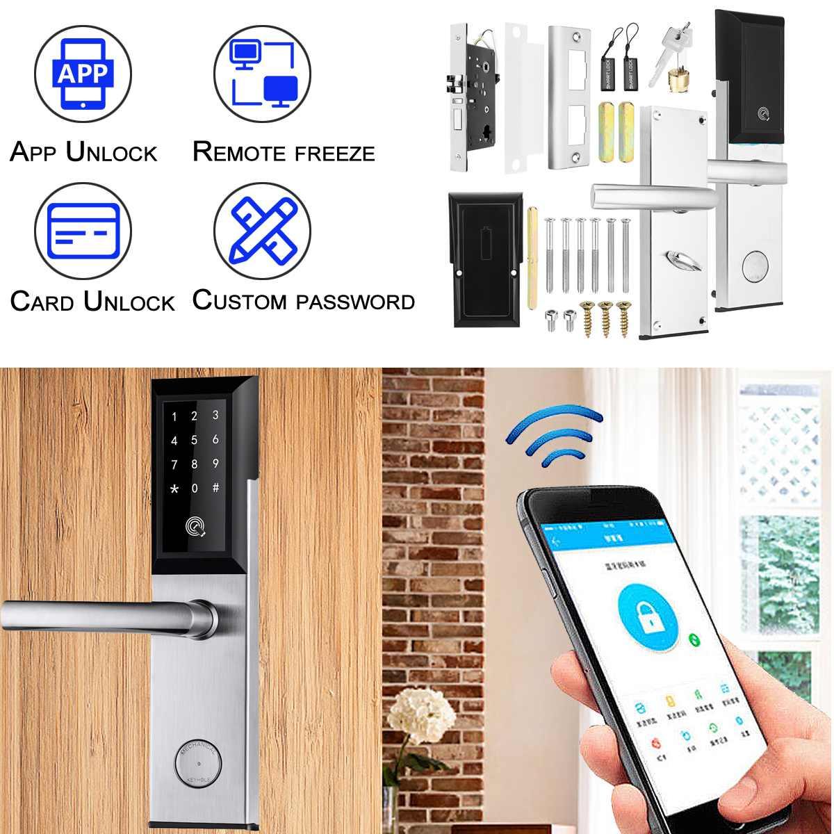 Security Electronic Door Lock bluetooth APP WiFi Intelligent Lock  Verification With Password Unlock Smart ScreenSecurity Electronic Door Lock bluetooth APP WiFi Intelligent Lock  Verification With Password Unlock Smart Screen