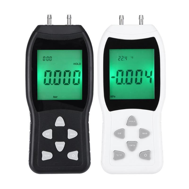 -Alta Precisão Digital Manômetro Medidor De Pressão De Ar Medidor de Pressão Diferencial de Barómetros Tester Detector ABS