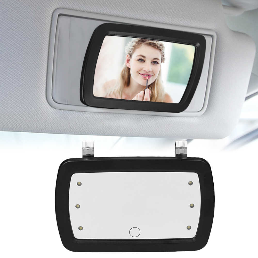Car Sun Visor Mirror Makeup Sun-shading Cosmetic Mirror Vanity Mirror Automobile Make Up Mirror with Six LED Lights