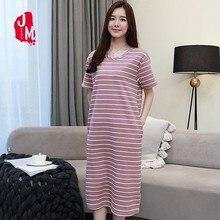 Summer Nightgowns Women Cotton Short Sleeve Sleepwear Nightdress Sexy Plus Size Ladies Home Dress Sleep