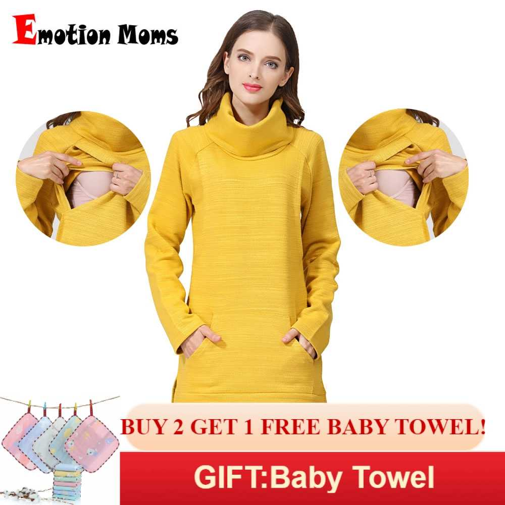 5142ce142da Detail Feedback Questions about Emotion Moms Elegant Maternity Clothes  Thermal breastfeeding Coat Turtle Neck Nursing Sweaters Hoodie the Colour  of Yellow ...