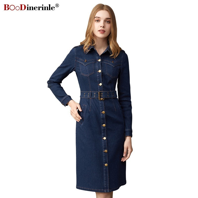 BOoDinerinle Vintage Denim Dress Women Summer 2019 Cotton Women's Dress Jeans Woman Casual Long Sleeve Sashes Cowboy Dresses