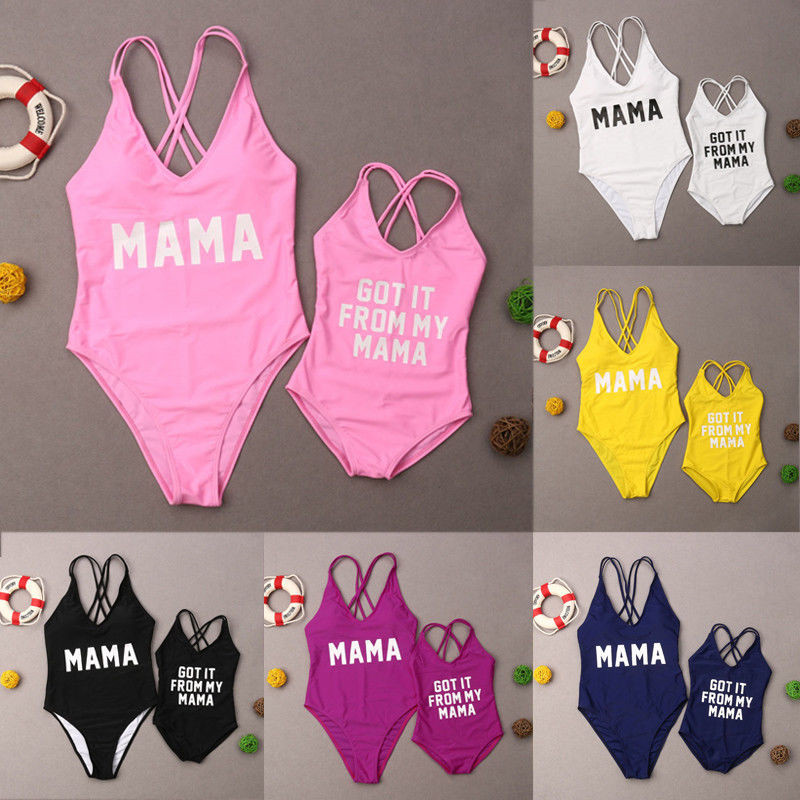 Family Matching Swimsuit One Piece Mother Daughter Kids Baby Women Girls Bikini Swimwear Bathing Suit Summer Beachwear