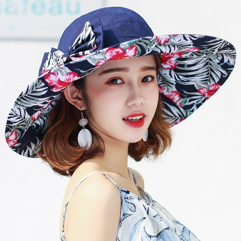 Reversible Summer Hat For Women Superlarge Brim Beach Cap Sun Hat Female England Style Girls Bow Fedora Hat