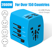 Highever 2000W International Travel Adapter Universal adaptador 4 USB Port 5A AC Outlets all-in-one wall charger for UK/EU/AU/US