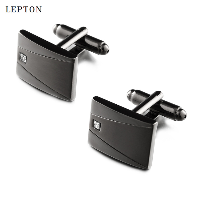 Lepton классические черные запонки и искусственные для мужчин