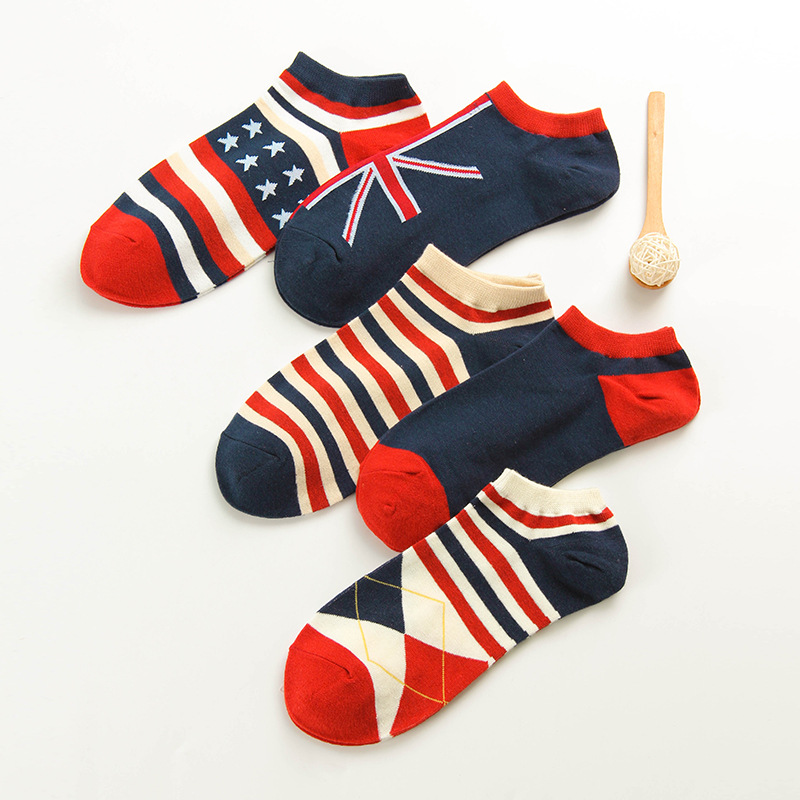 Mens Socks Casual Work Business National Flag Cotton Stripe Series Hit Color Fashion Casual Flags Ankle Sock Sox