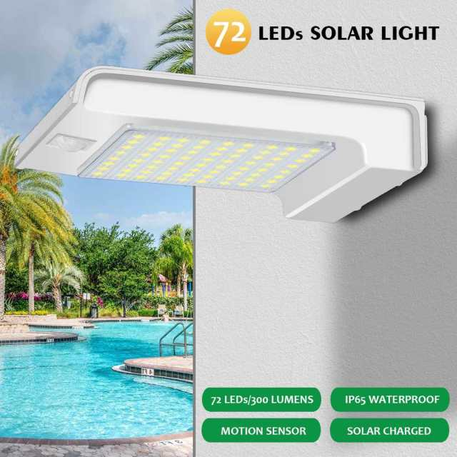 Smuxi 72 LED Solar Power PIR Motion Sensor LED Solar Light Bulb Outdoor Wall light