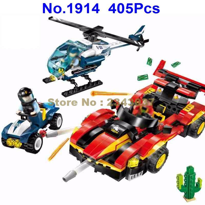 Police Sheriff Patrol Cars Drag Race: 1914 405pcs City Police Drag Racing Car Wanted Helicopter