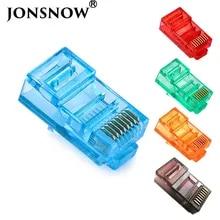 Jonsnow 20/50/100 pcs rj45 이더넷 케이블 모듈 플러그 네트워크 커넥터 RJ-45 크리스탈 헤드 cat5 컬러 cat5e 금도금 케이블