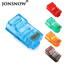JONSNOW 20/50/100PCS RJ45 Ethernet Cables Module Plug Network Connector RJ-45 Crystal Heads Cat5 Color Cat5e Gold Plated Cable