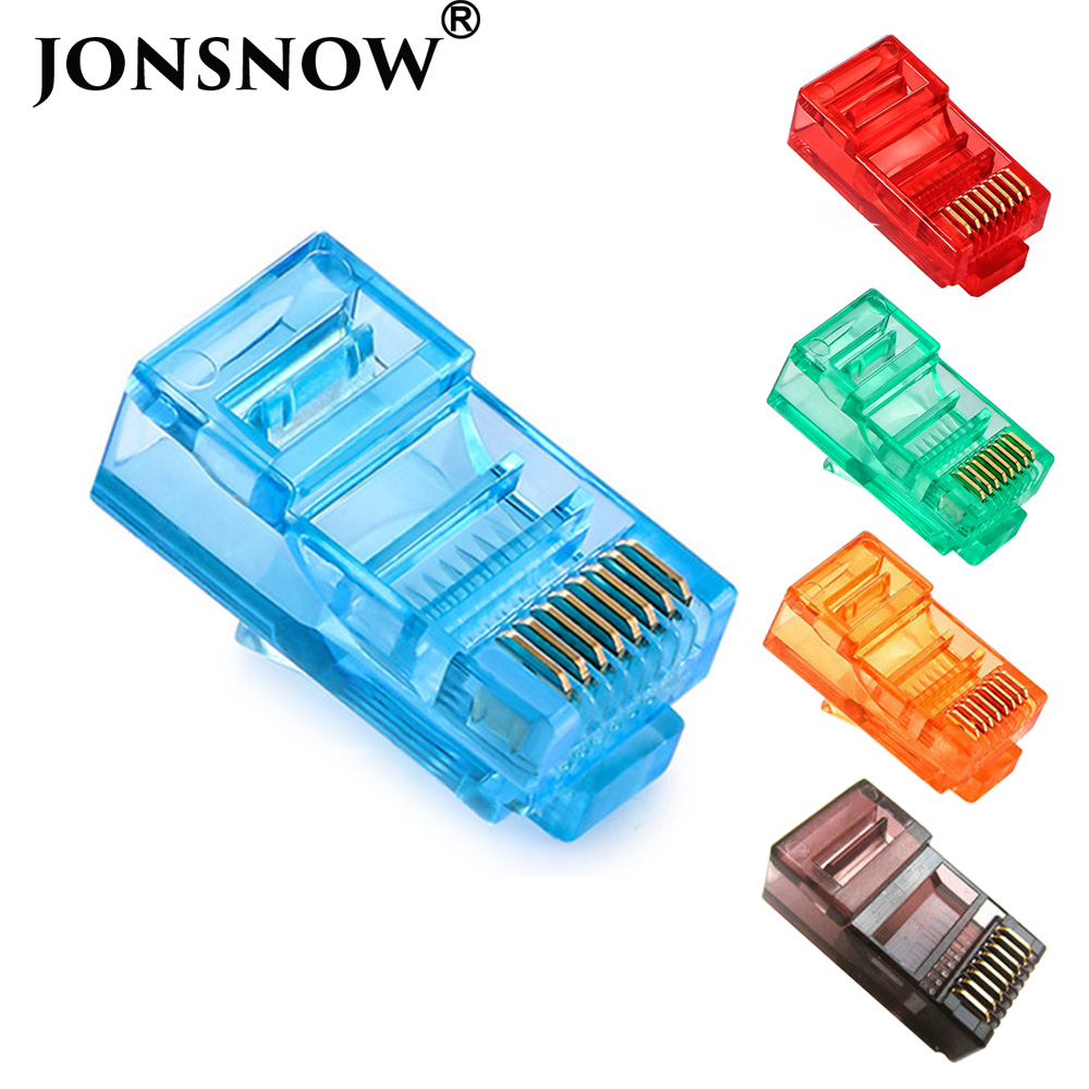 Jonsnow 20/50/100 pces rj45 ethernet cabos módulo plug conector de rede RJ-45 cabeças de cristal cat5 cor cat5e banhado a ouro cabo