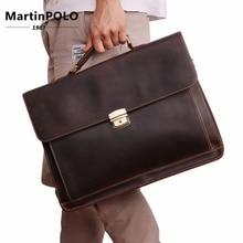 Brand Genuine Leather Men's Briefcases Vintage Laptop Bag Business High Quality male handbags Causal shoulder men messenger bags цена в Москве и Питере