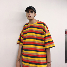 2019 Casual Stripe Short Sleeve t shirt men cotton Fashion summer top hot selling Pullovers