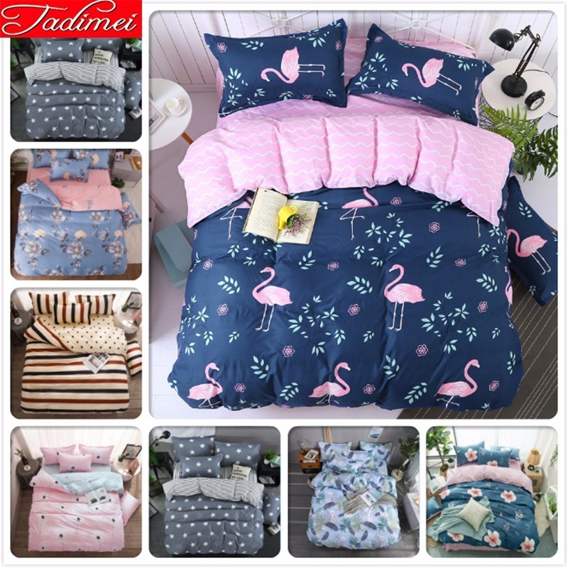 Tropical Flamingo Pattern Duvet Cover 3/4 Pcs Bedding Set Adult Kids Soft Cotton Bed Linen Single Full Queen King Size Bedspread