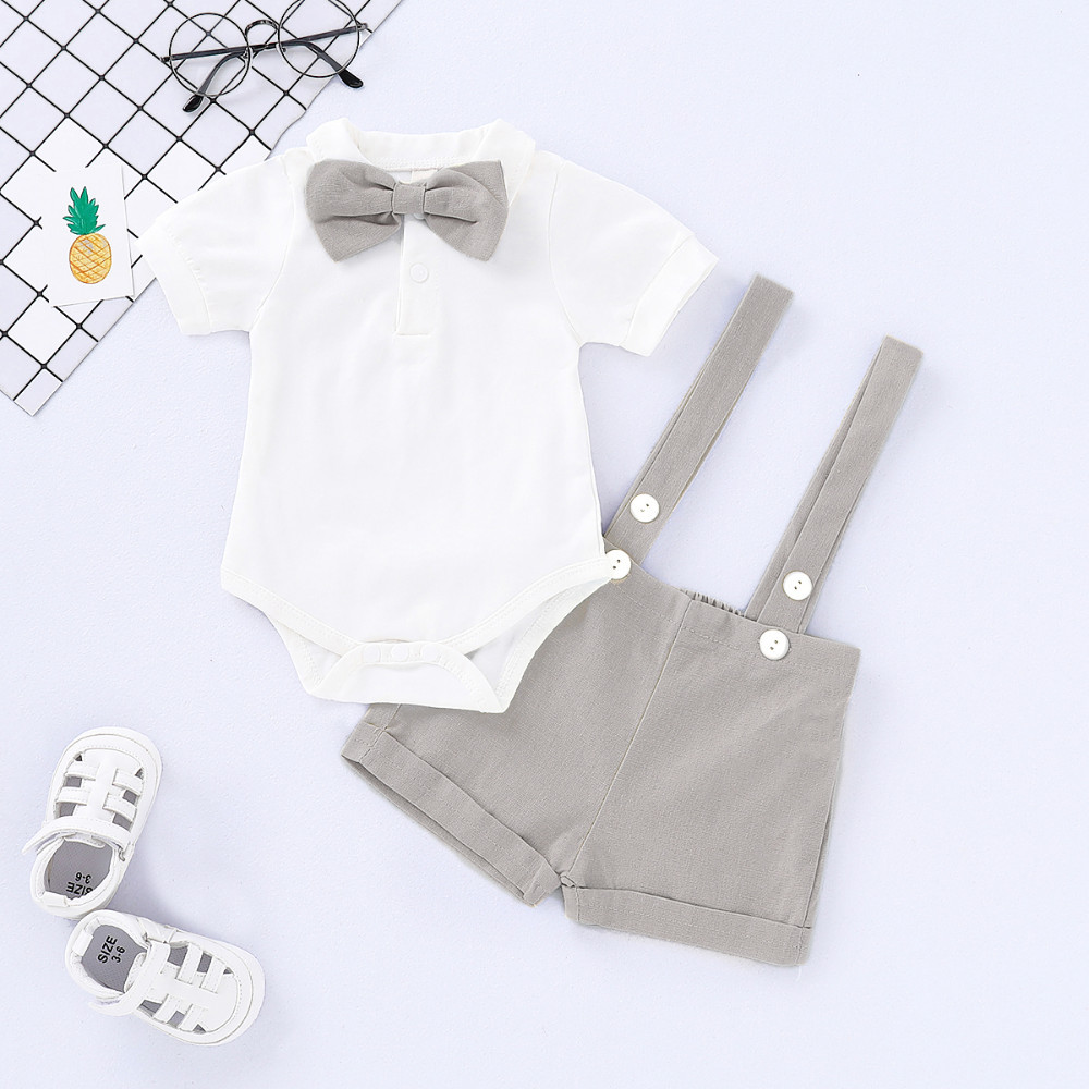 2 PCS Baby Boys Suspender Boxer Pants + Romper Outfits Set Gentlemen Wedding Formal Clothes Smash Grey 0-24m2 PCS Baby Boys Suspender Boxer Pants + Romper Outfits Set Gentlemen Wedding Formal Clothes Smash Grey 0-24m