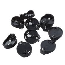 10pcs Black Round Button Battery Holder Case for CR2032 2016 2025
