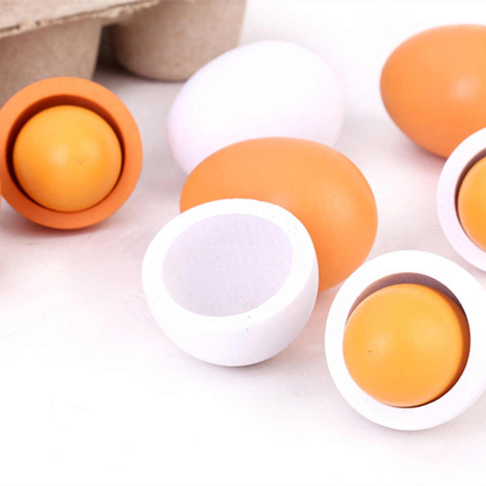 2019 New 6pcs/Set Wooden Egg Toys For Children Girls Toys Kitchen Toys Minoxidil Pretend Play The Goods For Kitchen Yeast