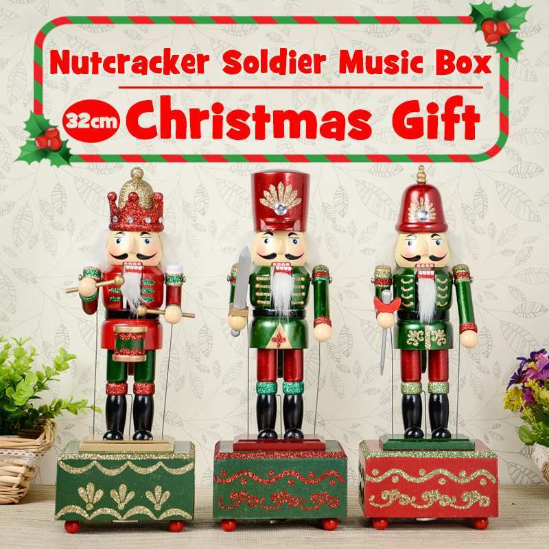 31cm Wooden Nutcracker Soldier Music Box Square Stand Wooden Nutcracker Doll Puppet Music Box for  Christmas Ornaments Gifts Солдат