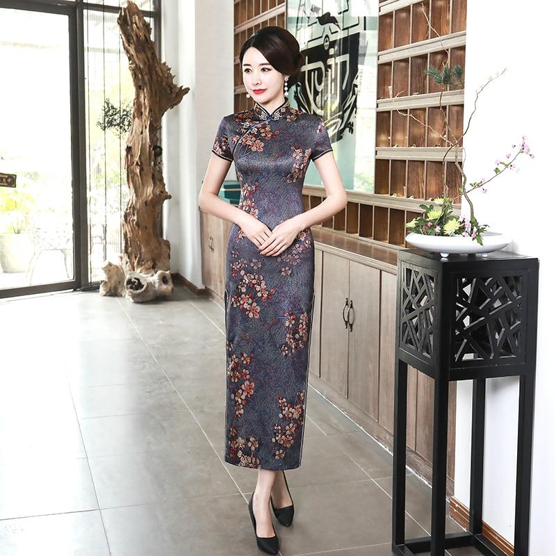 SHENG COCO Women Elegant Dresses Chinese Cheongsam Long Satin Dress Banquet Qipao Flower Chinese Dresses Qipao Robe Orientale