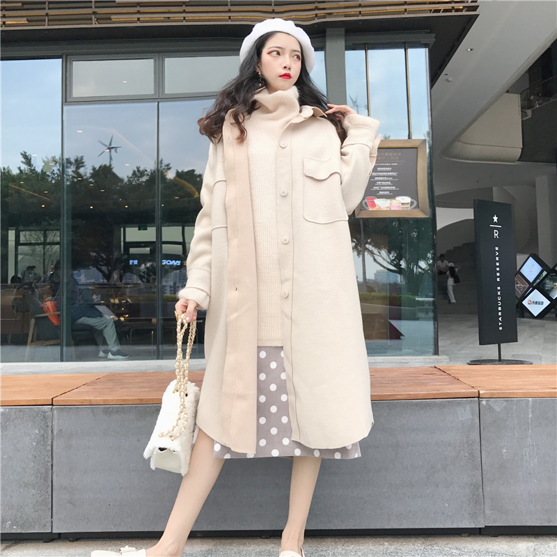 2018 Frühling Herbst Frauen Elegante Wolle Mischung Lange Mantel Winter Casual Mantel Europäischen Mode England Stil Jacke Outwear
