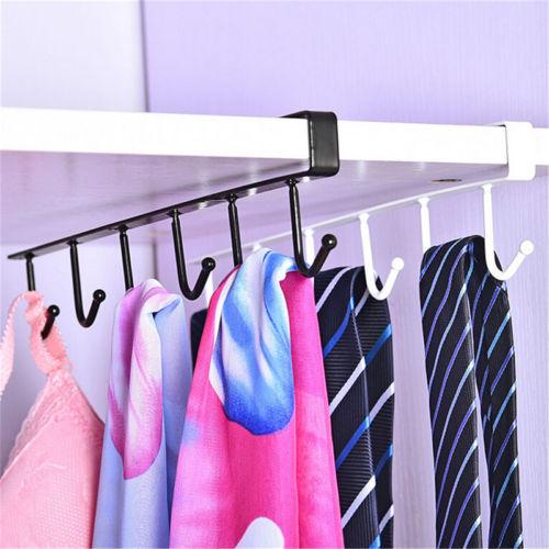 Cup Holder Hang Kitchen Cabinet Under Shelf Storage Rack Organiser 6 Hooks NEW