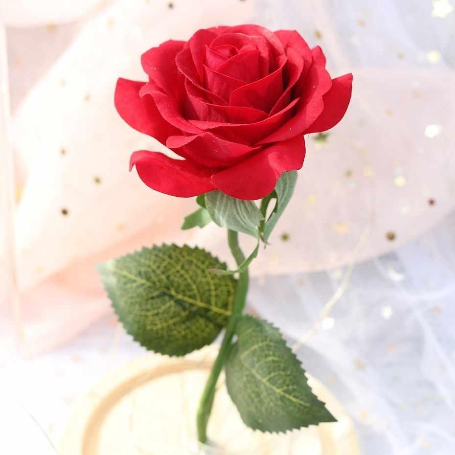 Piękna i bestia róża w kolbie róża led światło w kształcie kwiatów czarna podstawa szklana kopuła najlepsze na dzień matki walentynki prezent