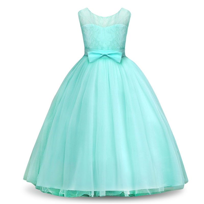 AmzBarley Dress For Girl Tulle Long Lace Maxi Flower With Bow-Knot Wedding Sleeveless Girls Formal Dresses