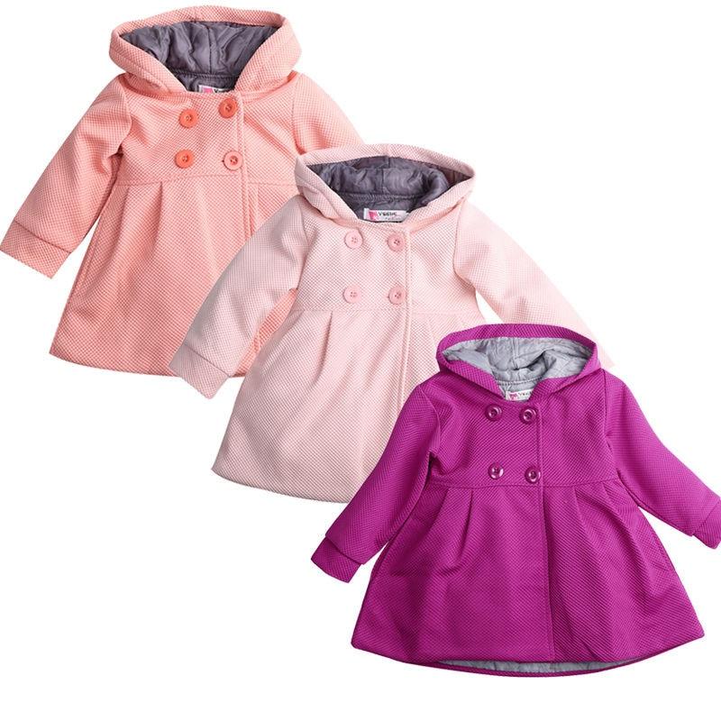 New Kids Baby Girl Hooded Trench Coat Winter Windbreaker Parka Jacket Outerwear