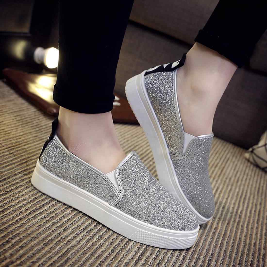 Women new thick bottom Loafers shoes Glitter Bling Sequin Outdoor Platform  low help Slip On Casual 9368920d5c3f