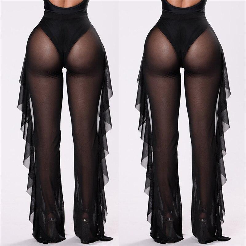 Women Beach Pants New Arrival Mesh Sheer Bikini Cover Up Transparent Ruffle High Waist Pants Long See Through Ladies Trousers