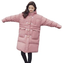 New Fashion Horn Buckle Thickening Padded Parka Winter Long Loose Pink Bread Clothes Women Jacket Ukraine Down Cotton Coat HJ16