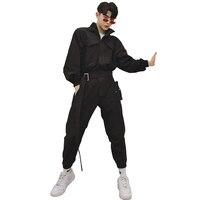 Spring original jumpsuit male hip hop trend hooded tooling nine pants casual loose long sleeve jumpsuit suit
