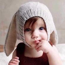 Милая детская теплая шапка с заячьими ушками; вязаная шапка для малышей; Новинка