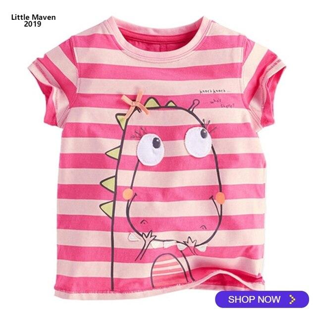 1ef7e70d3e3d 2019 Little Maven Brand Summer 2-7 year baby Kids Girl Girls Cute Dinosaur  Short sleeve Top Quality Cotton t-shirts Tops shirt