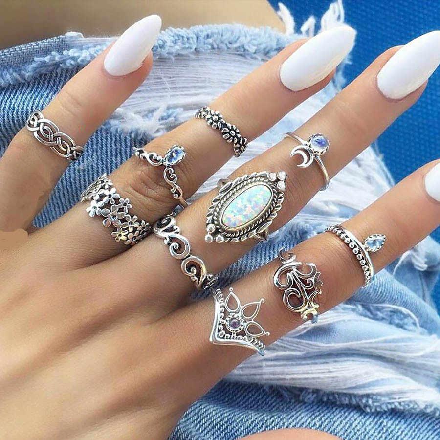 Bague Femme Vintage แหวน Boho เรขาคณิตดอกไม้คริสตัลชุดแหวน Knuckle Bohemian Midi Finger เครื่องประดับ Silver สี