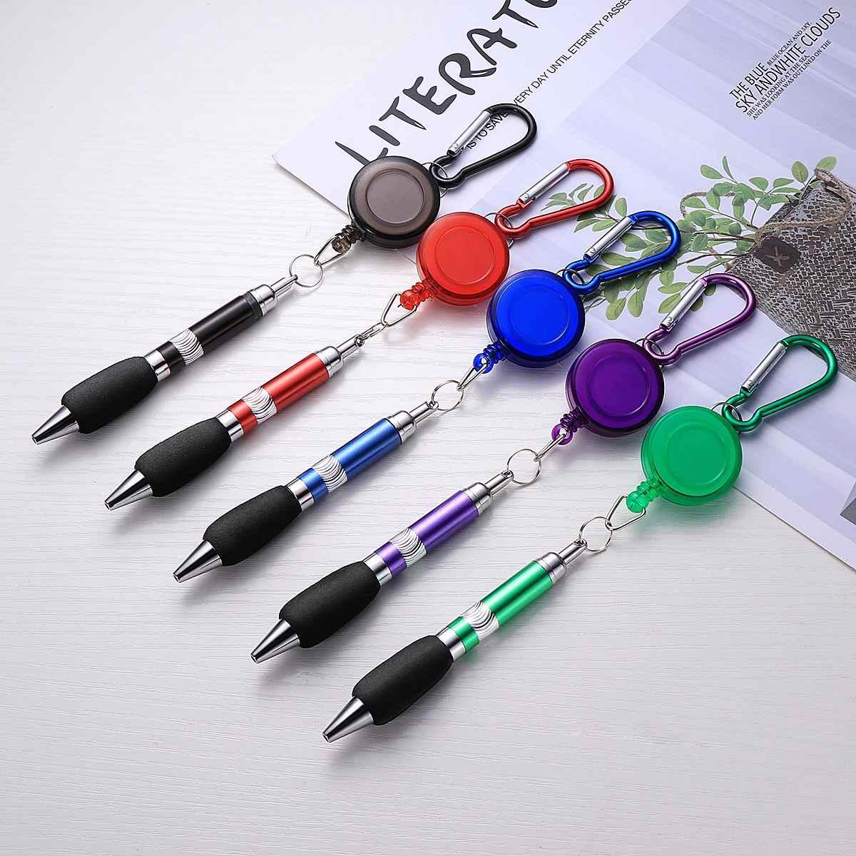 5 pièces 3-en-1 pratique rétractable Badge bobine stylo avec Clip ceinture porte-clés et mousqueton porte-clés chaîne porte-clés chaînes anneaux