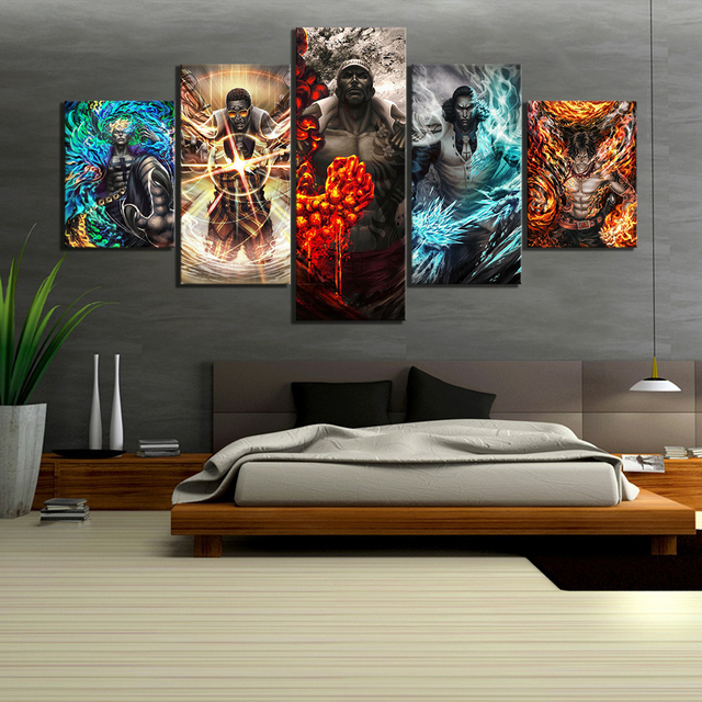 Us 6 12 49 Off 5 Piece Wall Art Anime Poster Picture One Piece Admirals Navy Headquarters Poster Wall Painting For Home Decor Canvas Wholesale In