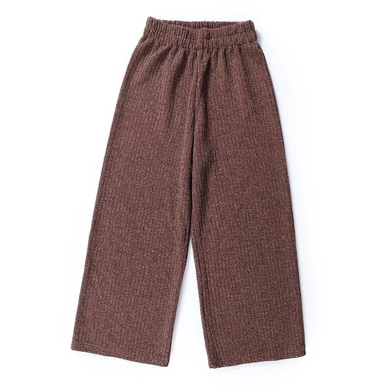 A FAN LANG New Women Autumn Winter Woolen Ankle Length Casual Pants Loose Sweat Pants Trousers Streetwear Woman's Wide Leg Pants 5