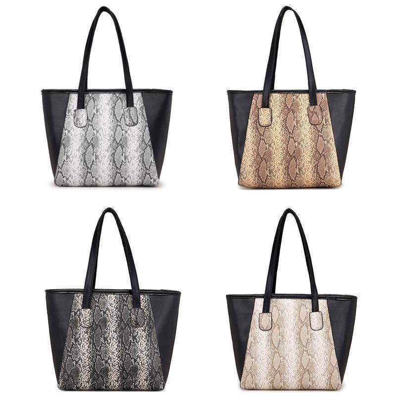 New Fashion Women Snake Pattern Patchwork PU Shoulder Bag Tote HandbagNew Fashion Women Snake Pattern Patchwork PU Shoulder Bag Tote Handbag