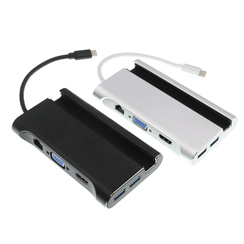 Adaptateur de moyeu 7 en 1 type-c vers HDMI VGA RJ45 3xUSB3. 0 avec support pour téléphone