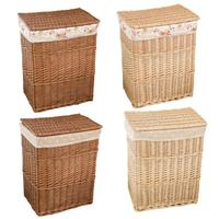 Natural Wicker Dirty Clothes Storage Basket Mesh Laundry Storage Bucket With Lid Large Capacity Household Organizer C007